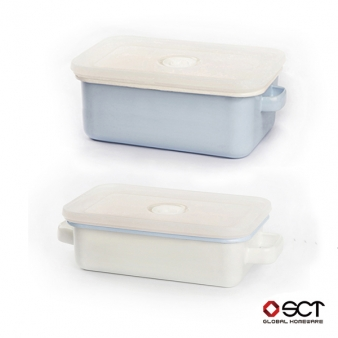 [에지리] 쿡앤씰 3호 밀폐냄비 스카이블루 2종(깊은형1.1L+0.8L)