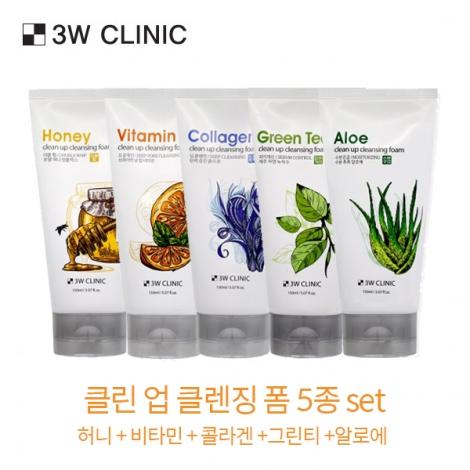3W 클리닉 클린 업 클렌징 폼 5종세트(허니+비타민+콜라겐+그린티+알로에) 총5p 150mlx5ea