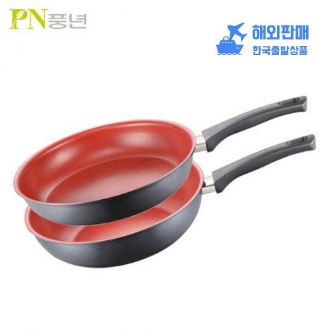 [PN풍년] 스칼렛 레드 IH 2종세트 / 후라이팬 28cm+궁중팬 28cm
