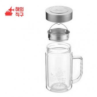 [해외직구]대용량 이중유리 투명 컵 손잡이 물컵 사무실 찻잔