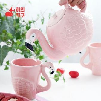 [해외직구]세라믹 플라밍고 주전자 모양 동물 마크잔세트 선물