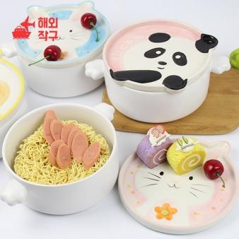 [해외직구]Aimeihui 만화 세라믹 라면그릇 기숙사 커버 그릇