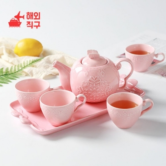 [해외직구]유럽 찻주전자 6종세트 세라믹컵 도자기주전자 물병