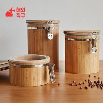 [해외직구]대나무 원형 다용도 세트 보관용기