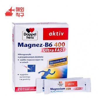 [해외직구]듀얼 하트 액티브 마그네슘 B6 400 초고속 x 20 포