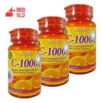 [해외직구]3P. 비타민 C 1000 mg. 쉽게 몸에 흡수되어 하얀 피부에 좋고 건강하고 하얀 피부에 도움 투명하고 젊음 30 정