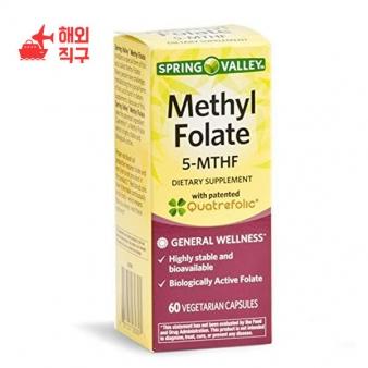 [해외직구]Spring Valley 5-MTHF 메틸 엽산 일반 건강 60 채식주의 자 캡슐